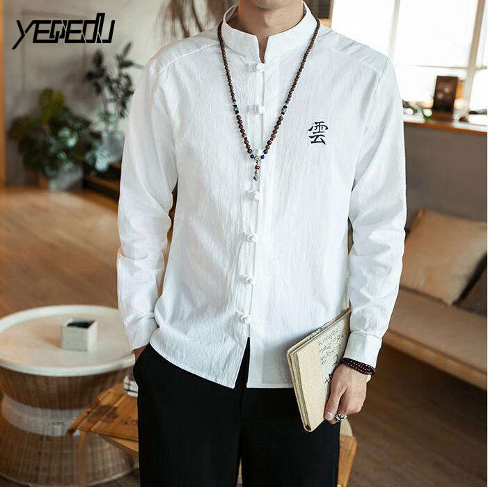 #4484 Spring 2018 Embroidery Casual linen shirts men Fashion Vinage Chinese style Stand collar Single breasted Plus size M-5XL