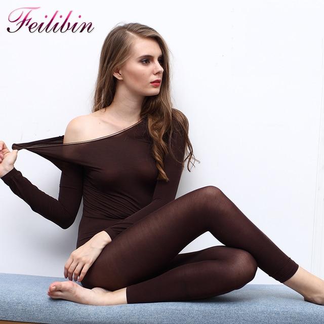 81fdd08382d New Hot Winter 37 Degree Women Slimming Thermal Underwear Ultrathin Lady Long  Johns Elastic Seamless Body
