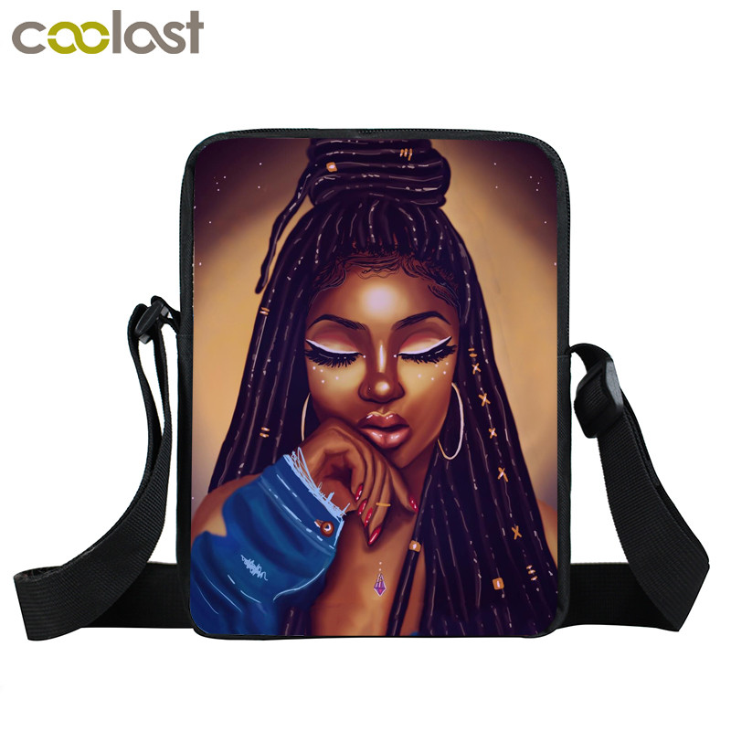 Afro Lady Girl messenger bag Africa Beauty Princess small shoulder bag brown women handbag mini totes teenager crossbody bags 19