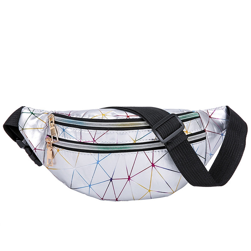 Women's Fashion Waist Packs Personalized Rock and Roll Color PU Leather Flashing Lattice Belt Bag Nerka Fanny Pack 2