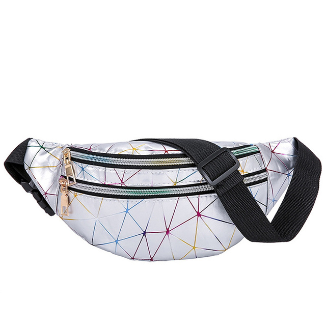 Women's Fashion Waist Packs Personalized Rock and Roll Color PU Leather Flashing Lattice Belt Bag Nerka Fanny Pack 2