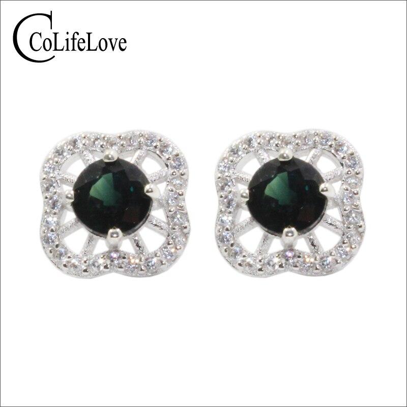 CoLife bijoux élégant 925 argent saphir boucle d'oreille pour fête naturel vert bleu saphir argent boucles d'oreilles argent saphir bijoux