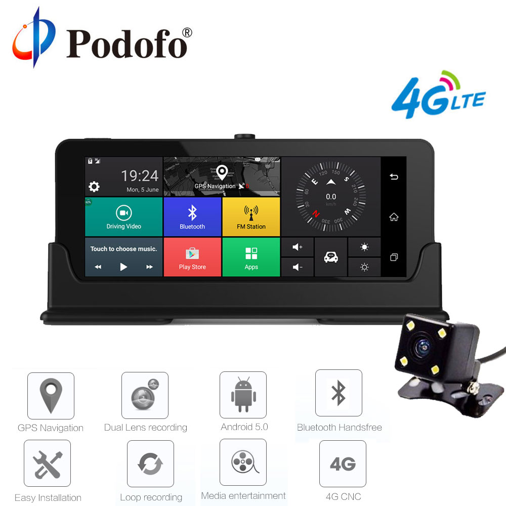 Podofo 7 Car DVR GPS Navigation Android font b Dashcam b font Bluetooth WIFI Touch DVRs