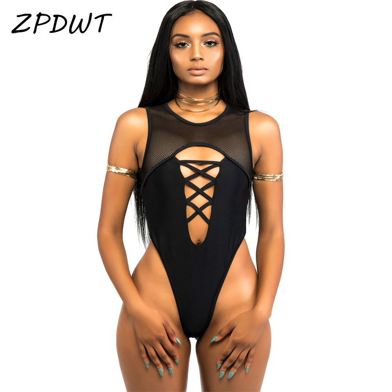 ZPDWT 2017 High Cut badedrakt One Piece Badedrakt Mesh Monokini High Neck Badedrakt Women Thong Badedrakt Black Maillot De Bain