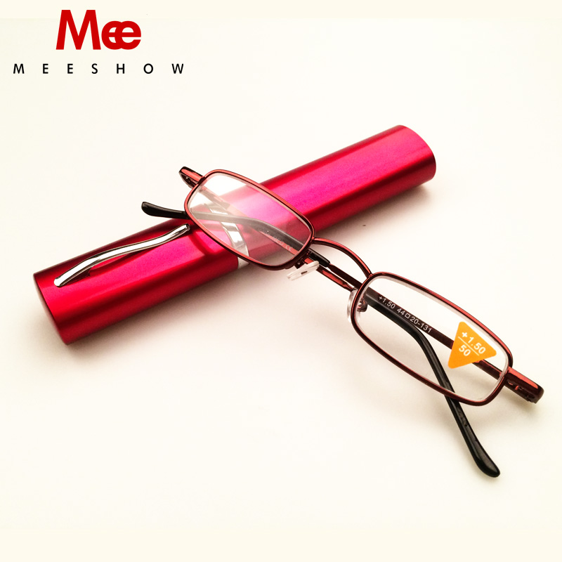 Meeshow Pocket Compact Premium Reading Glasses with Aluminium Pen Holder Case Case + 1.0-3.5 glasses T0388
