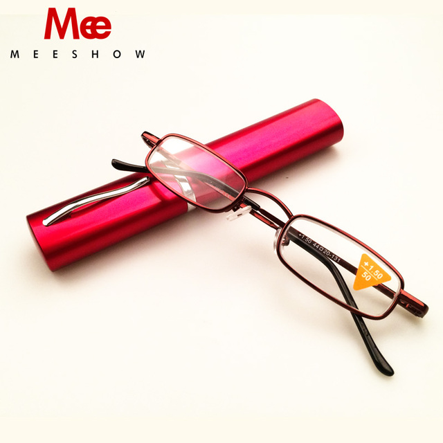 a1920155323 Meeshow Pocket Compact Premium Reading Glasses with Aluminum Pen Holder  Case Strength +1.0-3.5 eye glasses T0388