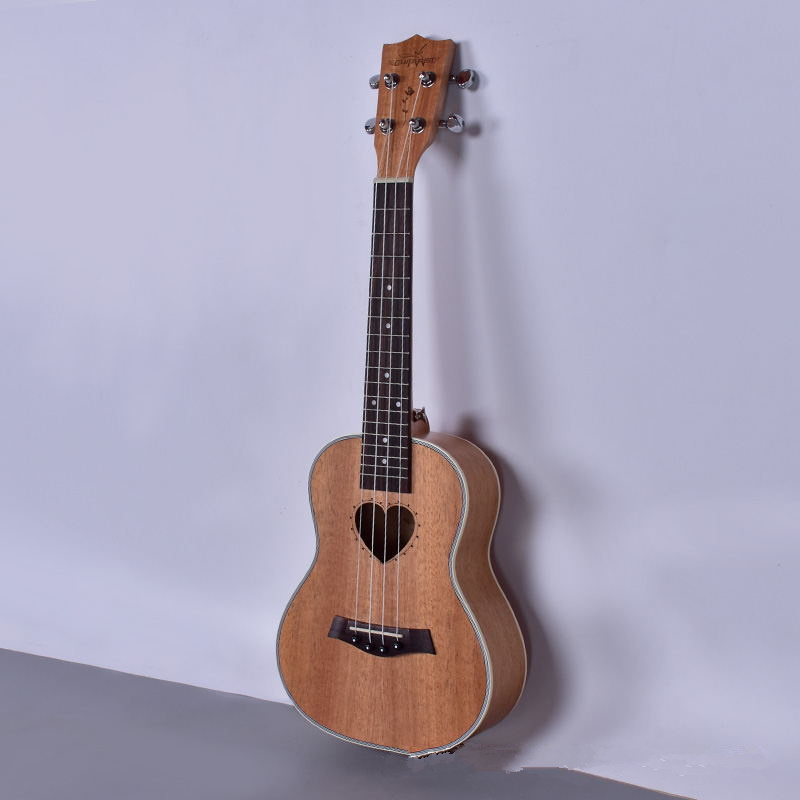 Concert Tenor Ukulele 23 26 Inch Electric Guitar 4 Strings Ukelele Heart-Shaped Guitarra Uke Mahogany Musical Instruments electric ukulele acoustic solid top only 4strings guitar ox bone nut mahogany body red tortoise shell celluloid binding ukelele