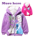 2015 retail new fashion winter thickening cartoon girls cotton fleece warm jackets kids casual hooded coat 1 pcs TM09