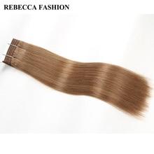 Rebecca Remy Human Hair Bundles Brazilian Silky Straight Weave Light Brown 8# Brazilian Hair Weave Bundles For Salon 113g