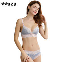 VVUES Push Up Bra Set Lace Bras For Women Sexy Lingerie Seamless Underwear Cotton Plus Size Free Shipping 2019