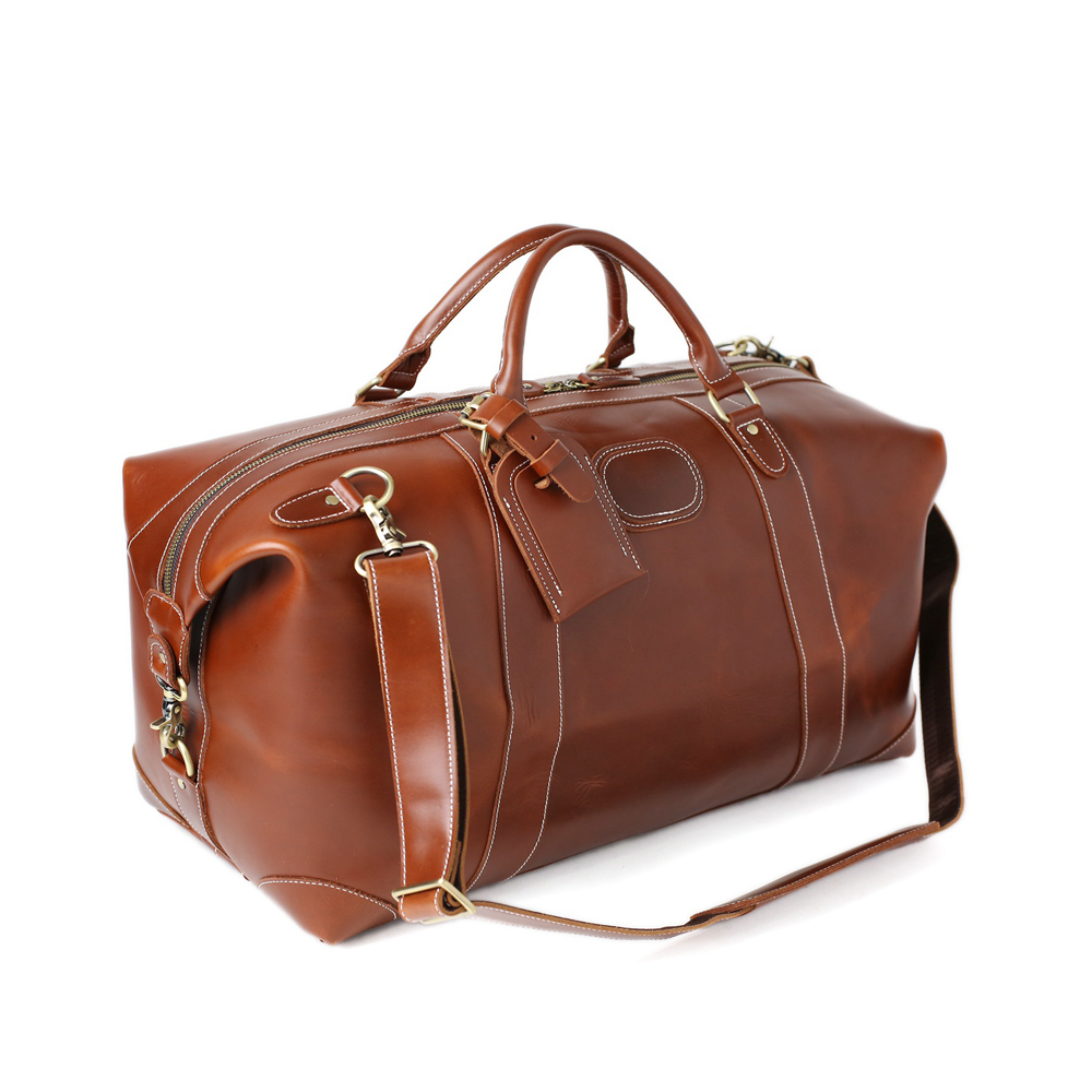 ROCKCOW Reddish Brown Leather Travel Bag. Top Grain Leather, Italian fittings