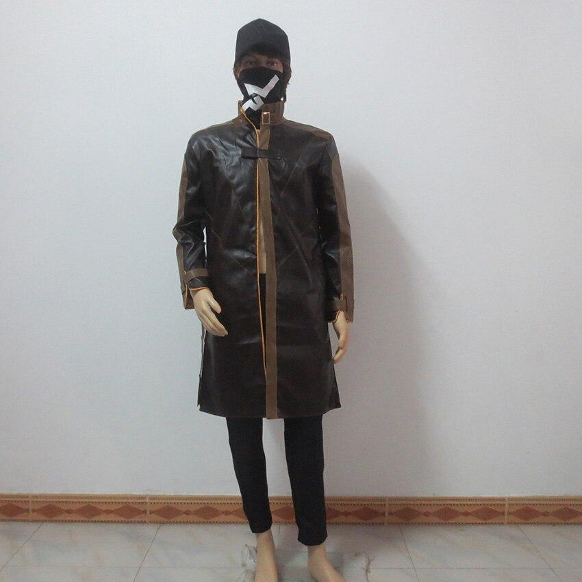Watch Dogs Aiden Pearce косплей костюм пальто+ брюки+ шляпа+ маска - Цвет: female size