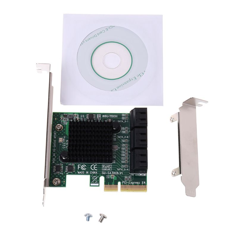 1 Pc PCI E PCI Express to SATA 3.0 III 3 SSD PCIe 8 Ports Expansion Board Card Adapter Raiser Low Profile Bracket