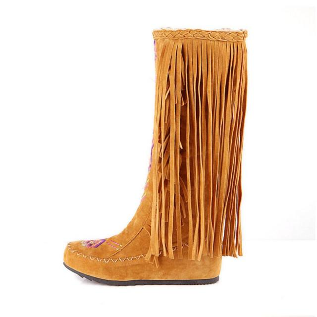 TAOFFEN Fashion Chinese Nation Style Flock Leather Women Fringe Flat Heels Long Boots Woman Tassel Knee High Boots Size 34-43 1