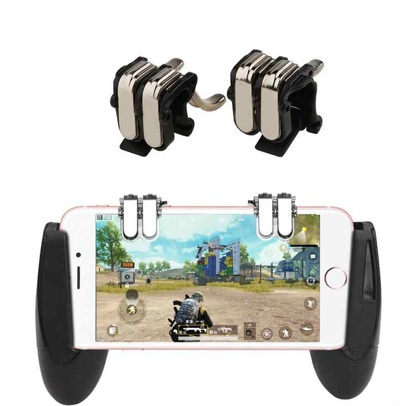 EastVita 4-Clic de metal PUBG Mobile Shooter controlador con mano Gamepad L1 R1 gatillo Botón de apuntar juego para teléfono botón de disparo Shooter