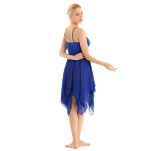 Image 5 - TiaoBug Adult Spaghetti Straps Asymmetrical Women Chiffon Modern Ballroom Dress Ballet Tutu Contemporary Lyrical Dance Costumes