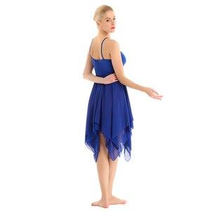 Image 5 - TiaoBug vestido de salón moderno para mujer, asimétrico, tirantes finos, tutú de Ballet, trajes de baile lírico contemporáneos