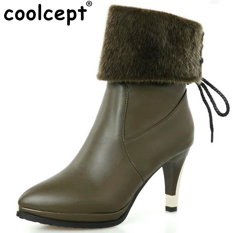 Coolcept size 30-52 women high heel half short boots winter warm mid calf boot pionted toe quality botas footwear shoes P21137 double buckle cross straps mid calf boots