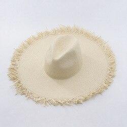 Muchique hot fashion summer hats for women sun hat wide brim floppy with fray edge paper.jpg 250x250