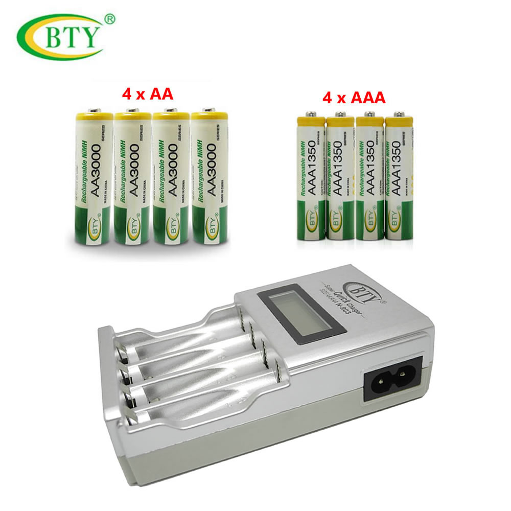 Original BTY N-903 AA AAA Battery Charger + 4x BTY AA 3000 Ni-MH Battery+4x BTY AAA 1350 1.2V Ni-MH Rechargeable Battery аккумулятор 4pcs bty aaa 1 2v 1000mah ni mh rechargeable battery