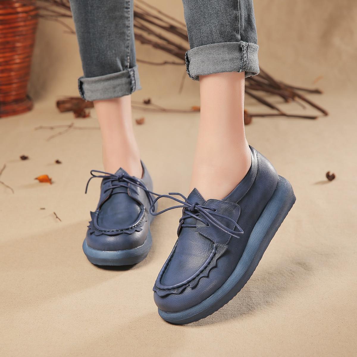 ФОТО Original vintage women flat shoes sheepskin medium heel women lacing shoes platform leather womens shoes flats 2017