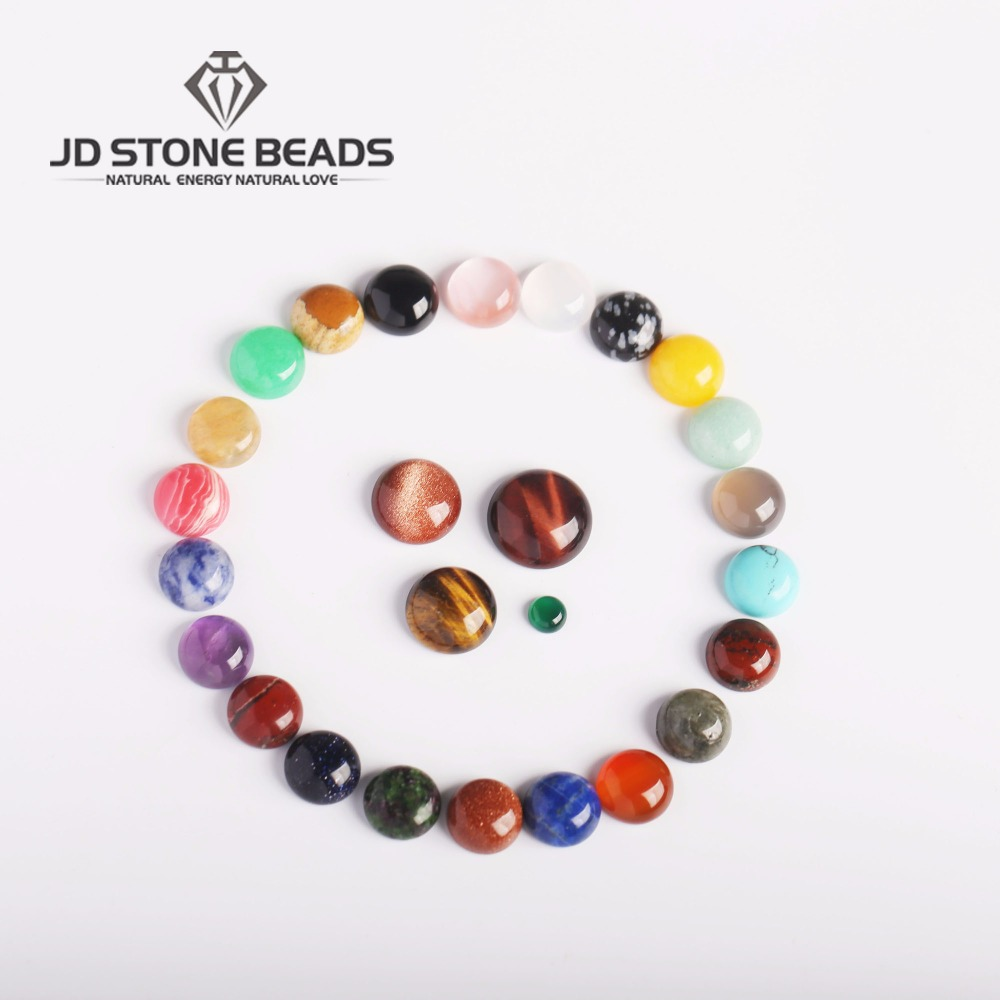 Wholesale  15pcs Round  Flat Back  Gemstone Mix Colors Natural Stone  Cab Cabochons Jewelry   Gifts Accessories
