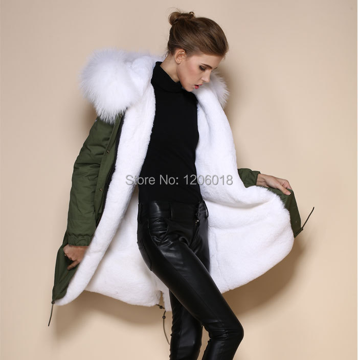 Parka Coat With White Fur Hood | Han Coats