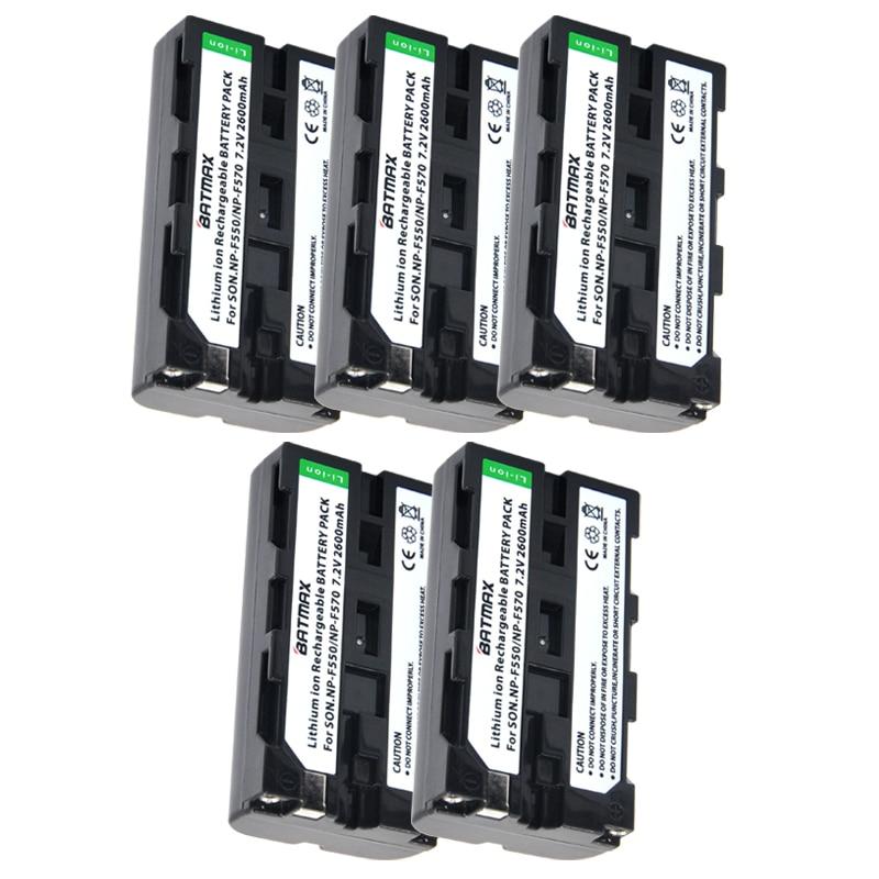 Image 2 - 5pcs NP F550 NP F550 NPF550 Rechargeable Li ion battery (2600mAh)  for Sony NP F330 NP F530 NP F570 NP F730 NP F750 Hi 8np f550battery  f550battery np-f550