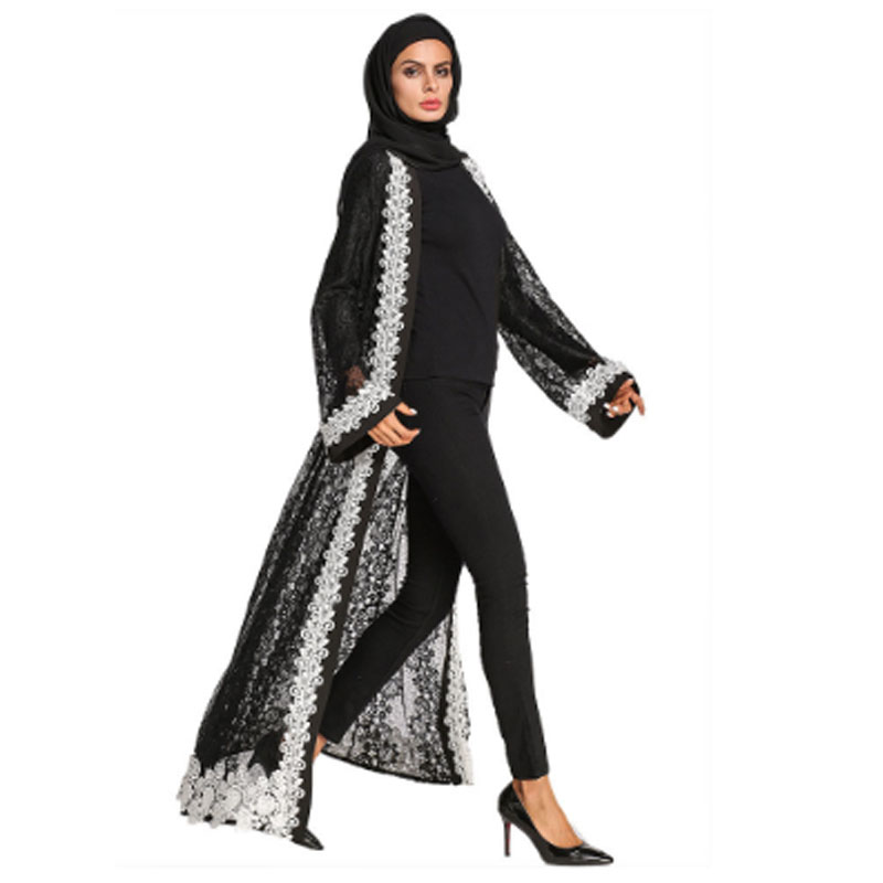 Embroidery Cardigan Black Lace Chiffon Long Coat For India Pakistan Muslim,Mid East Arabic