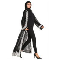 Embroidery Cardigan Black Lace Chiffon Long Coat For India Pakistan Muslim,Mid East Arabic Dress Abayas Long Robe Drop Ship