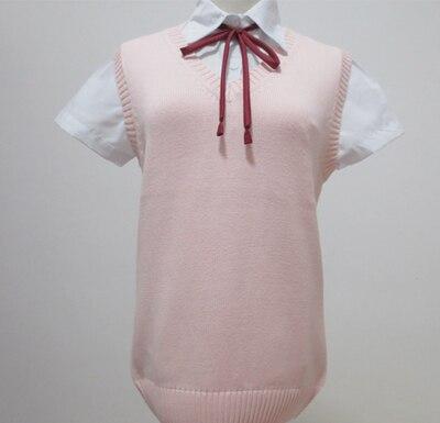 lolita Kawaii anime Cosplay svetr roztomilý japonská školní uniforma Solid Vest V-neck Pletení svetr bez rukávů XS-XL
