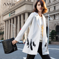 Amii Casual Minimalist Women 2018 Winter Woolen Coat Embroidery Turn down Collar Covered Button Female Wool Blends