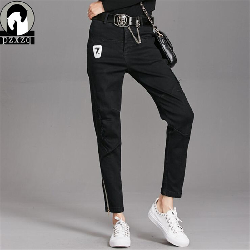 2019 New Black Zipper Fashion Holes Jeans Women Pencil Pants High Waist Jeans Sexy Slim Elastic Pants Trousers Fit Lady Jeans