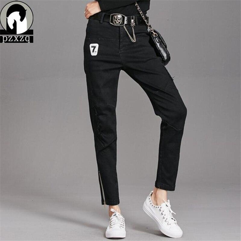 2019 New Black Zipper Fashion Holes Jeans Women Pencil Pants