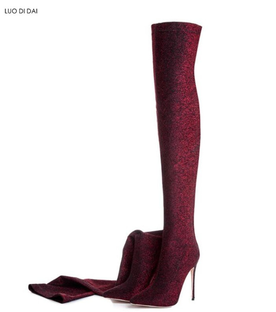 Details about  /Women Pointed Toe Elastic Stretch Sock Boots Sequins Over Knee High Boots Shoes