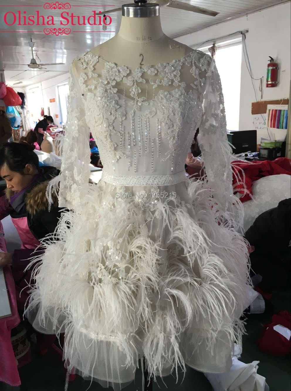 Glamorous cuentas de encaje elegante vestido corto de baile  de manga larga plum