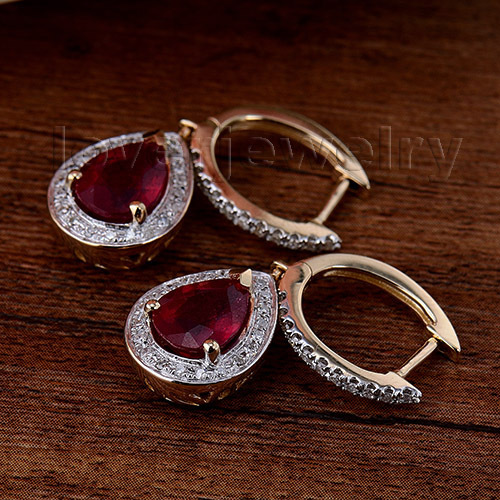 100% Natural Diamond Earrings,Fashion Jewelry 14Kt Yellow Gold Ruby Engagement Earrings For Women E0002J 2