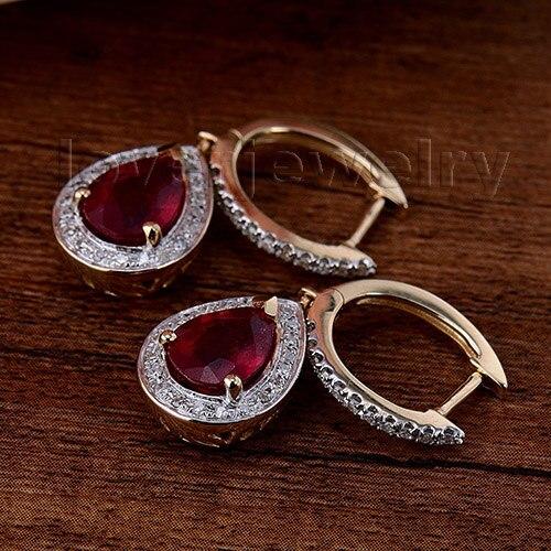 Loverjewelry 100% Təbii Diamond Sırğalar Moda Zərgərlik 14K - Gözəl zərgərlik - Fotoqrafiya 3