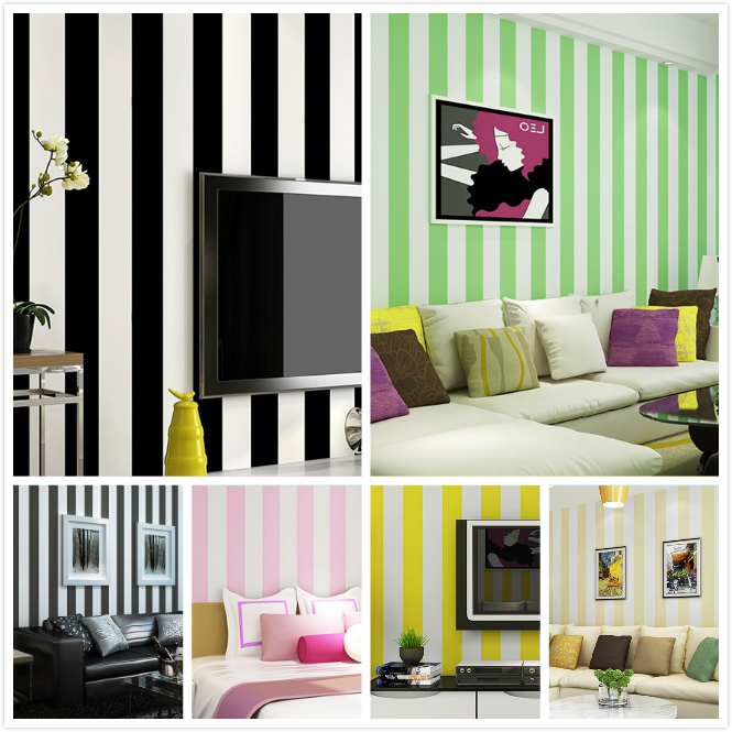 0.53mx10m Modern Classic Stripes Black and White Wallpaper Fashion Green Pink Wallpaper For ...