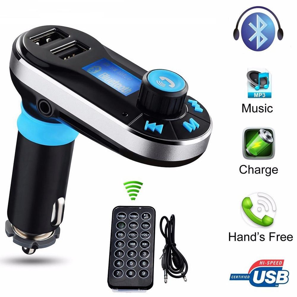 Hot Bluetooth Car Kit MP3 Player FM Transmitter Auto Bluetooth AUX Wireless Car Modulator Radio 2 USB Car Charger Remote Control