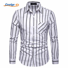 Covrlge High Quality Striped Men British Style Casual Dress Shirts Long Sleeved White Collar Design Wedding Tuxedo Shirt