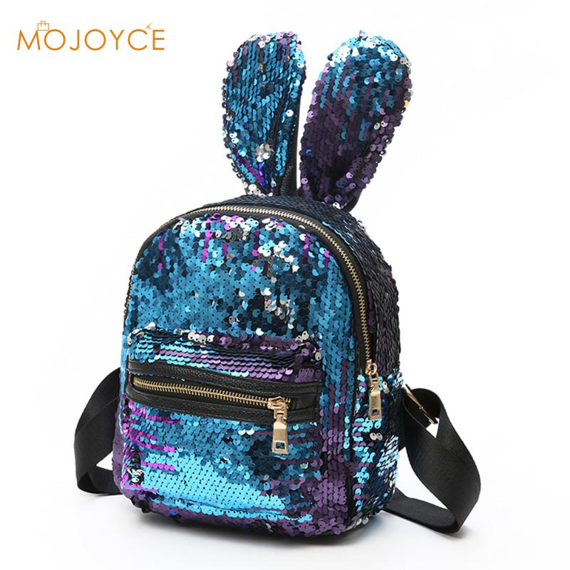Women Bling Sequins Backpack Cute Big Rabbit Ears Double Shoulder Bag Women Mini Backpacks Children Girls Travel Bag mochila2017