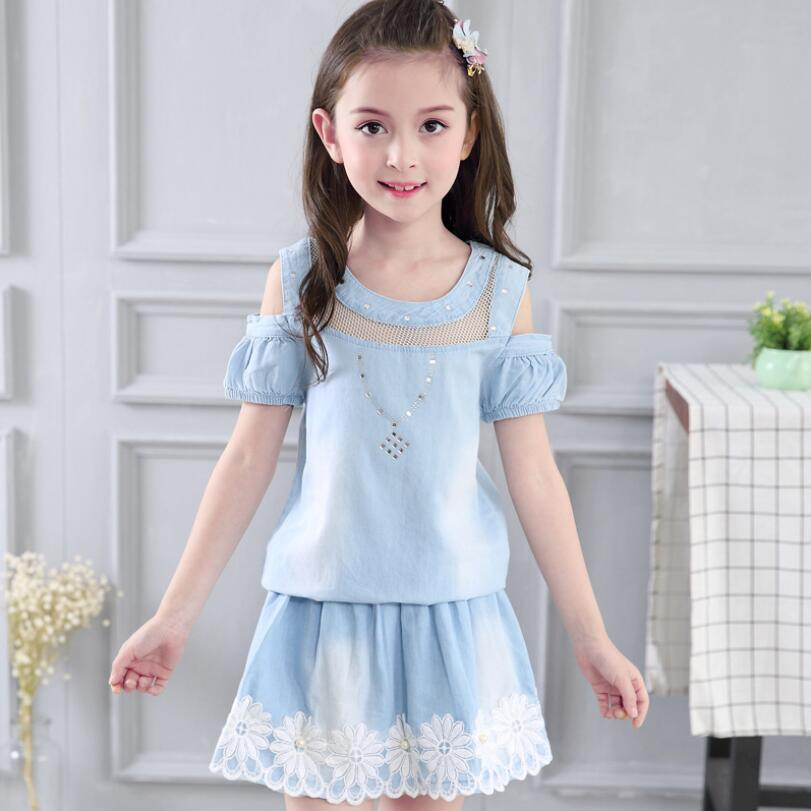 2017 Girls Clothes Sets Summer 7 8 Years 10 12 Years Girls Clothing Sets in Denim Kids Children Outfits 2 Pcs Fashion Clothes retail kids 2017 baby girls clothes summer girls clothing sets kids clothes girl denim t shirts denim shorts sets 2 6 years 2