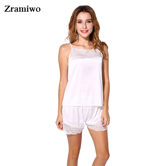 ee53855e8 Satin Pajamas Set Lace Nightgowns Comfy Sleepwear Pretty Nighties  Artificial Silk Camisole Short Sets