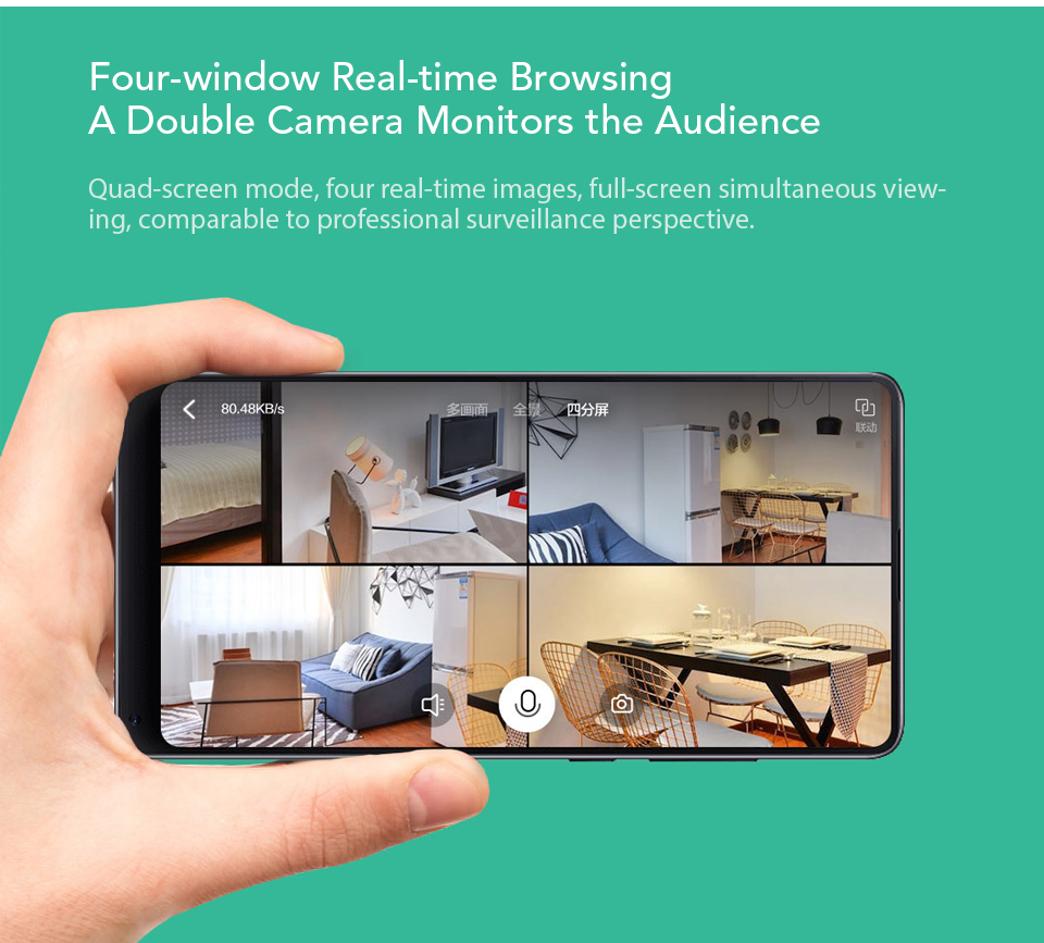 Xiaomi Xiaofang Camera Dual Lens Version Panoramic Smart Network IP Camera Four Screens in One Window Two-way Audio Support VR (4)