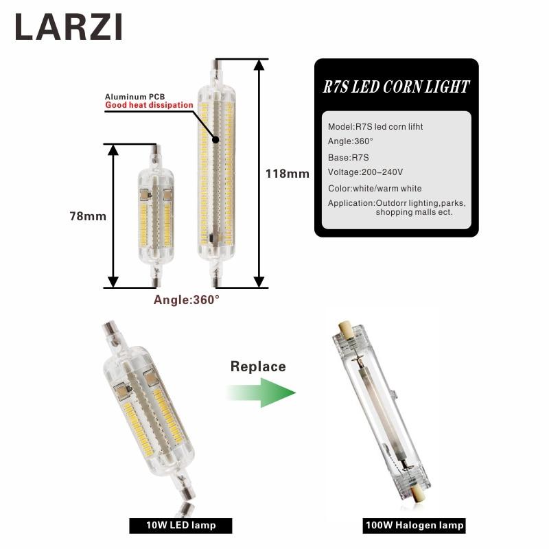 LARZI LED R7S 10W 78mm 15W 118mm Lamp 360 degree Lampada Light R7s SMD 3014 Leds Bulb Replace Halogen Lamp 20mm Diameter in LED Bulbs Tubes from Lights Lighting