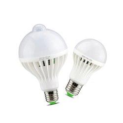 Умный звук/PIR датчик движения светодиодный светильник 3 Вт 5 Вт 7 Вт 9 Вт 12 Вт E27 220 В Индукционная лампа лестница Прихожая ночник белый цвет
