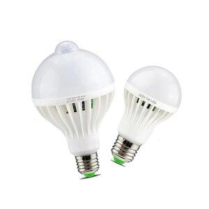 Image 1 - Smart Sound/ PIR détecteur de mouvement LED lampe lumière 3W 5W 7W 9W 12W E27 220V Induction ampoule escalier couloir veilleuse couleur blanche