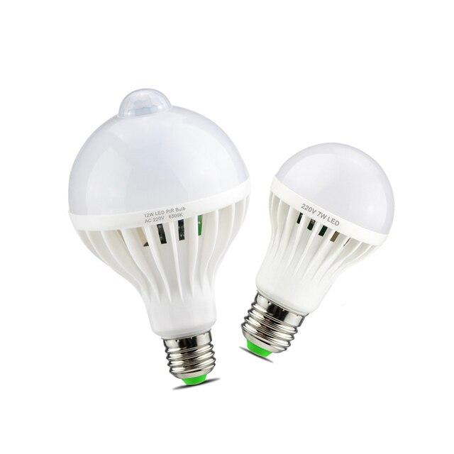 Smart Sound/ PIR détecteur de mouvement LED lampe lumière 3W 5W 7W 9W 12W E27 220V Induction ampoule escalier couloir veilleuse couleur blanche