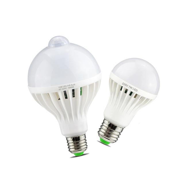 Sonido inteligente/PIR Sensor de movimiento LED luz de la lámpara de 3 W 5 W 7 W 9 W 12 W E27 bombilla de inducción de 220 V, escalera, pasillo, luz de noche, color blanco